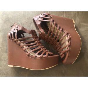 NWT Torrid Size 9W Cognac Gladiator Wedge Sandal